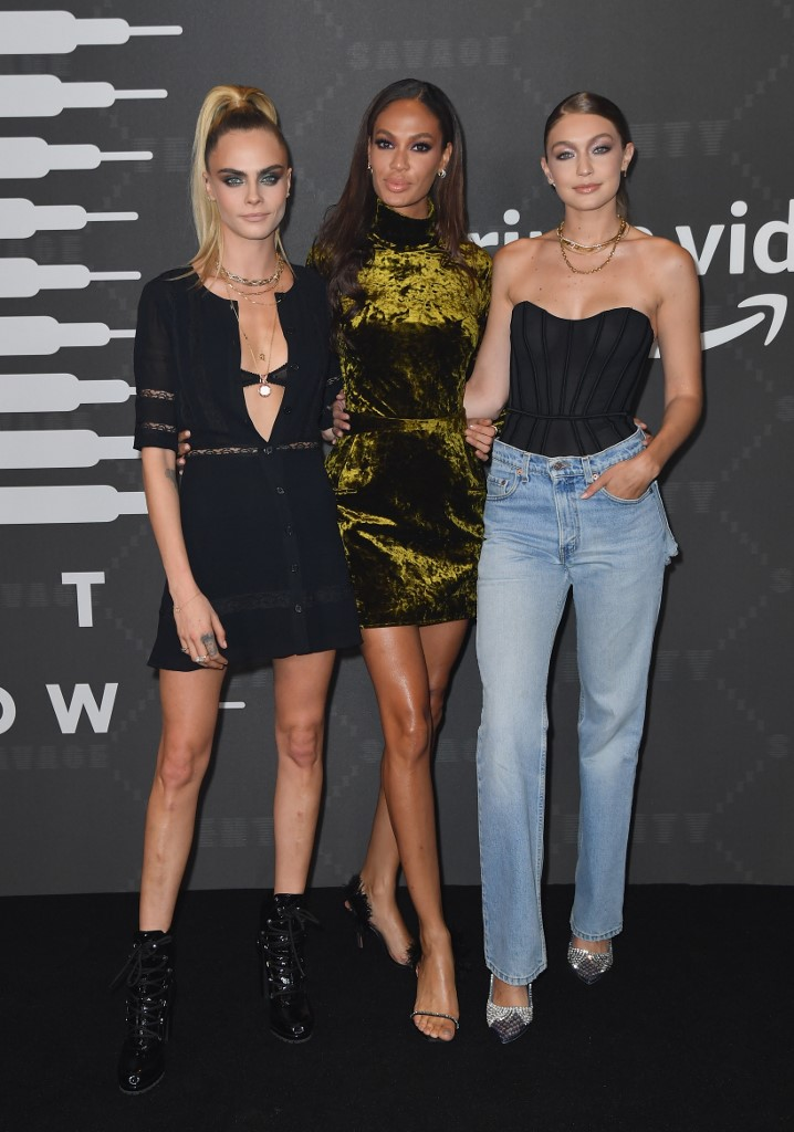 British actress/model Cara Delevingne (L), Puerto-Rican model Joan Smalls (C) and US model Gigi Hadid (R) arrive for the Savage X Fenty Show Presented By Amazon Prime Video at Barclays Center on September 10, 2019 in Brooklyn, New York. Angela Weiss / AFP